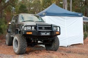 """One tough Hilux running 35"""" MTZ's on 10"""" wide suns."""
